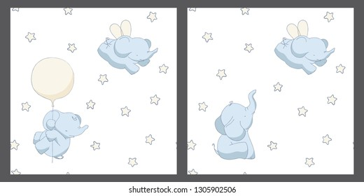 2 baby elefants seamless patterns little set, backgrounds design, universal and classic backdrops for tiny boys and girls