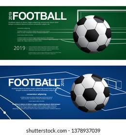 2 Banner Soccer Football Poster Vector Illustration
