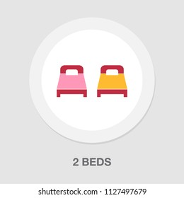 2 beds icon, hospital beds icon. vector hotel icon - sleepping beds. travel symbol isolated