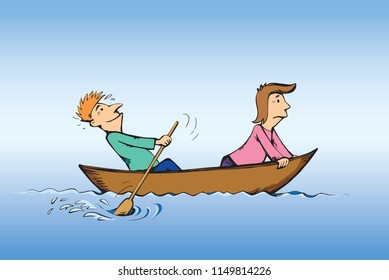2 candid figure trip in old small wood ski skiff isolated on blue lake background. Bright color drawn together teamwork sketch in art retro doodle comic style. Side view and space for text on sky