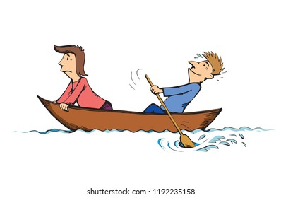2 candid figure trip in old small wood ski skiff isolated on white lake background. Bright color drawn together teamwork sketch in art retro doodle comic style. Side view and space for text on sky