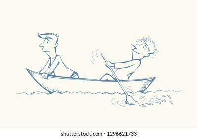 2 candid guy figure trip in old small wooden ski skiff isolated on white lake background. Freehand line black ink drawn picture logo sketchy in art retro doodle comic style pen on paper space for text