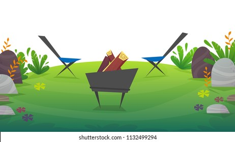 2 chairs camping with barbeque food picnick , waterlemon , grapes . tourism weekend at green grass field , nature plants . beautiful cheerful cartoon style , vector background isolated on white