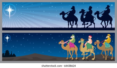 2 Christmas banners with the three wise men and the Star of Bethlehem.