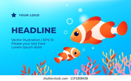 2 clown fish - advertising banner, left text. Design for aquarium - colored fishes collection, vector illustration.