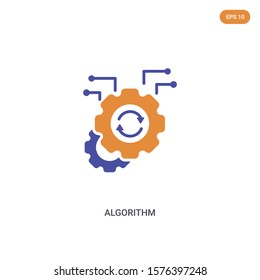 2 color Algorithm concept vector icon. isolated two color Algorithm vector sign symbol designed with blue and orange colors can be use for web, mobile and logo. eps 10.