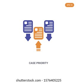 2 color Case Priority concept vector icon. isolated two color Case Priority vector sign symbol designed with blue and orange colors can be use for web, mobile and logo. eps 10.