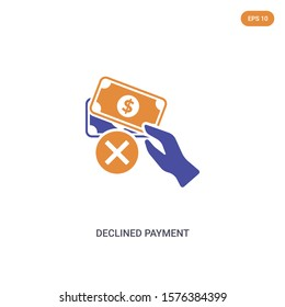 2 color declined payment concept vector icon. isolated two color declined payment vector sign symbol designed with blue and orange colors can be use for web, mobile and logo. eps 10.