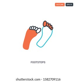 2 color footsteps concept line vector icon. isolated two colored footsteps outline icon with blue and red colors can be use for web, mobile. Stroke line eps 10.