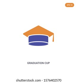 2 color graduation cup concept vector icon. isolated two color graduation cup vector sign symbol designed with blue and orange colors can be use for web, mobile and logo. eps 10.