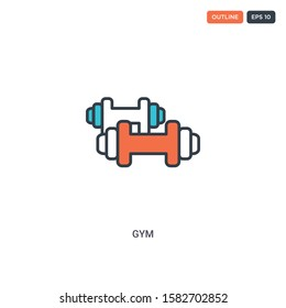 2 color gym concept line vector icon. isolated two colored gym outline icon with blue and red colors can be use for web, mobile. Stroke line eps 10.