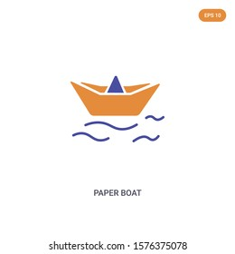 2 color Paper boat concept vector icon. isolated two color Paper boat vector sign symbol designed with blue and orange colors can be use for web, mobile and logo. eps 10.