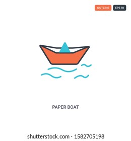 2 color Paper boat concept line vector icon. isolated two colored Paper boat outline icon with blue and red colors can be use for web, mobile. Stroke line eps 10.