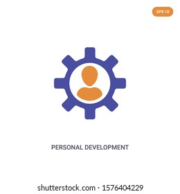 2 color Personal Development concept vector icon. isolated two color Personal Development vector sign symbol designed with blue and orange colors can be use for web, mobile and logo. eps 10.