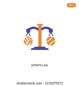 2 color Sports law concept vector icon. isolated two color Sports law vector sign symbol designed with blue and orange colors can be use for web, mobile and logo. eps 10.