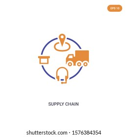 2 color supply chain concept vector icon. isolated two color supply chain vector sign symbol designed with blue and orange colors can be use for web, mobile and logo. eps 10.