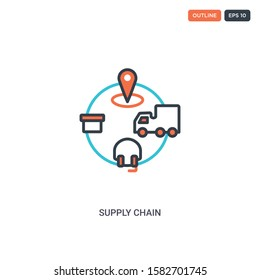 2 color supply chain concept line vector icon. isolated two colored supply chain outline icon with blue and red colors can be use for web, mobile. Stroke line eps 10.