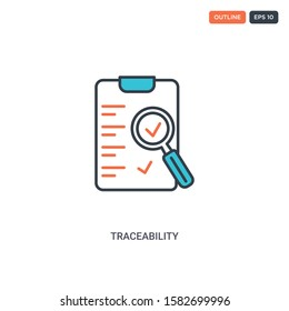 2 color Traceability concept line vector icon. isolated two colored Traceability outline icon with blue and red colors can be use for web, mobile. Stroke line eps 10.