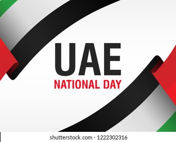 2 December. UAE Independence Day background in national flag color theme. Celebration banner with curving ribbons and text. Vector illustration