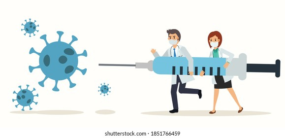 2 doctors is holding Syringe of vaccine to fight with corona virus,Covid 19. Vector flat cartoon character illustration.