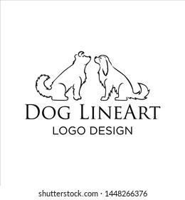 2 dog lineart logo design