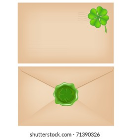 2 Envelopes With Wax Seal And Clover, Isolated On White Background, Vector Illustration