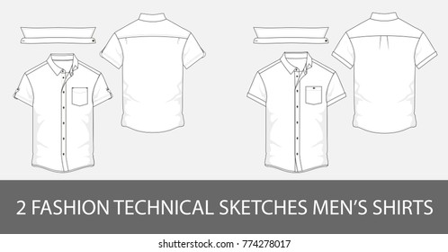2 Fashion technical sketches men shirt with short sleeves and patch pockets in vector graphic