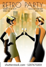 2 Flapper Girls at a party in the style of the early 20th century. Retro party invitation card. Handmade drawing vector illustration. Art Deco style.