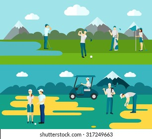 2 flat sport banners with golf course players abstract isolated vector illustration