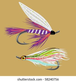 2 fly-fishing flies VECTOR