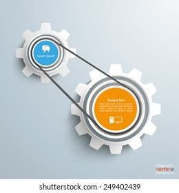2 gears with drive chain on the gray background. Eps 10 vector file.