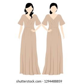 2 girls wear long dress for bridesmaid