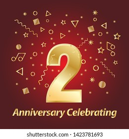 2 golden number and Anniversary Celebrating text with golden serpentine and confetti on red background template design