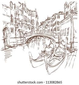 2 gondolas. Ponte del Mondo Novo, Campo S.Maria Formosa. Venice, Italy. Vector sketch