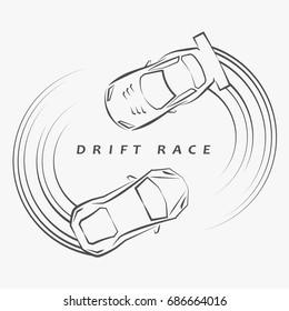 2 hand draft super car logos drift around each other on light grey background.(EPS10 art vector)