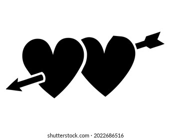 2 hearts with arrow, concept of love cupid, amour, lovestruck, romance and love symbol, vector, illustration in black and white color, isolated on white background