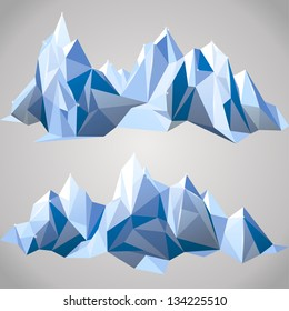2 horizontal borders with paper mountains