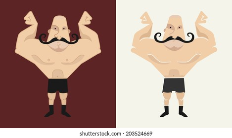 2 huge, bald, mustached athlete's in 2 different styles