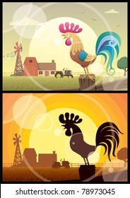 2 illustrations of crowing roosters on farm backgrounds.