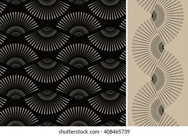2 japanese style fan shape seamless patterns in black and ivory
