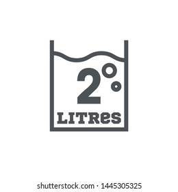 2 Liters l sign (l-mark) estimated volumes milliliters (ml) Vector symbol packaging, labels used for prepacked foods, drinks different liters and milliliters. 2 litre vol single icon isolated on white