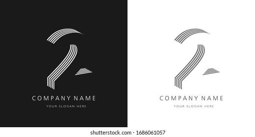 2 logo number modern design