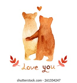 2 lovely brown bears in love. Watercolor greeting card template. Cute background for wedding invitation. Watercolor Illustration with bears and text love you.  hand drawn texture for DIY project.