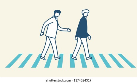 2 male characters crossing the traffic lights