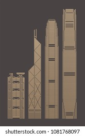 2 May 2018. Vector Illustration of Hong Kong landmark buildings: HSBC main building, Bank of China, IFF and ICC towers.