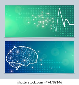 2 Medical Banners,Neurology Anatomical Conception,Vector Illustration.Brain and Cerebellum blue dotted background w synapse lights,Pulse on green dotted background.Cerebral Anatomical Neurology Logo