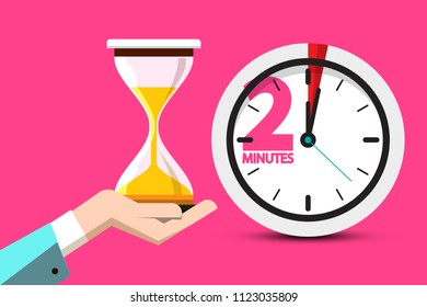 2 Minutes Hourglass Time Symbol. 2 Minute Counter Icon with Sand Clock on Human Hand. Vector Flat Design Stopwatch Design on Pink Background.