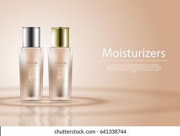 2 moisturizer bottles on nude background