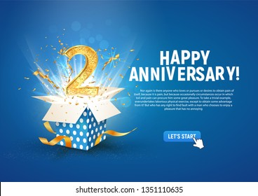 2 nd year anniversary banner with open burst gift box. Template second birthday celebration and abstract text on blue background vector illustration