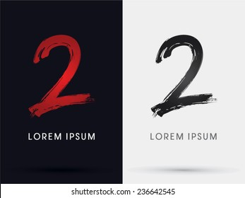 2, Number two, grungy font, brush, logo, symbol, icon, graphic, vector .